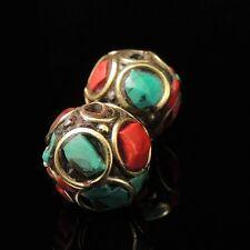 2 Beads Handmade Nepal Artisan Turquoise Coral Brass Nepali Nepalese NP008x2