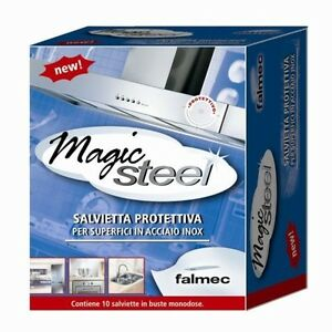 * MAGIC STEEL FALMEC 10 SALVIETTE PROTEZIONE E PULIZIA ACCIAIO TIPO CLIN CLIN  ì