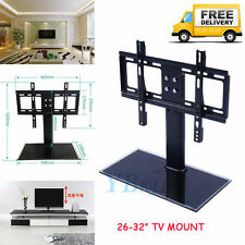 "26""-32"" Cantilever Black Glass TV Stand Holder with Bracket for Plasma LCD LED"