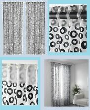 "IKEA Sommar 2018 Black White Leopard Curtain Drape""Sheer""Spot Circle 2 Panel MOD"