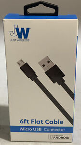 Just Wireless Micro USB Cable Flat, Black