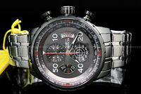 New Invicta Men Aviator 48MM Gunmetal Dial Tachymeter S.S Chrono Bracelet Watch