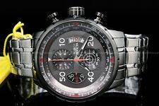 New Invicta Men Aviator 48MM Gunmetal Dial Tachymeter S.S Chrono Bracelet Watch