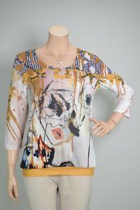 """MISSY 3/4-Arm Shirt """"Gesicht"""" Senf Ocker Natur - Strass & Glitzer - MUST HAVE"""