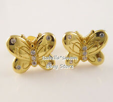 DECORATIVE Butterflies PANDORA Shine YELLOW GOLD Plated Earring STUDS 267921CZ