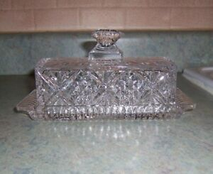 SHANNON CRYSTAL BY GODINGER DUBLIN CRYSTAL COVERED BUTTER DISH