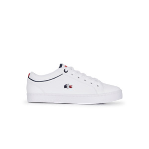 Lacoste Kids Straightset 119 White Red Navy Trainers Lace Fastening All Sizes