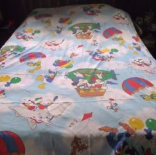 Mickey Mouse Bed Sheet Twin Flat Hot Air Balloon Dumbo Goofy Fabric Craft Donald