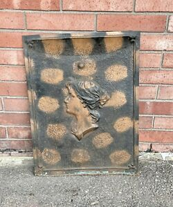 """Woman Figural Tin ORNATE ANTIQUE FIREPLACE COVER VENT DOOR 27.25 X 20.25"""""""