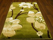 Modern New Rugs Aprox 5x2ft6 80x150cm Woven Thick best around Green/Beiges poppy