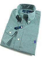 Ralph Lauren Shirt Men's Ever Green Gingham Check Standard Fit Cotton Stretch