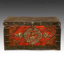 RARE ANTIQUE TRUNK PAINTED PINE IRON TIBET BUDDHIST CHINESE FURNITURE 18TH C.