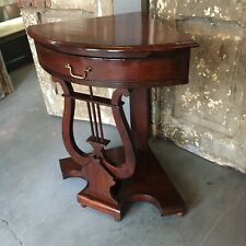 Rare Beautiful Mahogany Harp Corner Table One Drawer Lamp End Entry Victorian