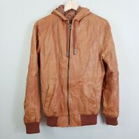 INDUSTRIE Mens Size S Tan Leather Bomber Jacket w/ Hood
