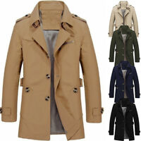 Men's New Slim Cotton Stylish Trench Coat Winter Mid-long Jacket Casual Overcoat