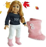 "Doll Clothes 18"" Boots Knit Pink Fits American Girl Dolls"