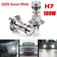 2 X H7 100W LED Fog DRL Driving Car Head Light Lamp Bulbs White Super Bright 12V