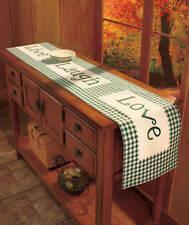 "FUN! Green Plaid 72"" LIVE LOVE LAUGH TABLE RUNNER Americana Lodge Country Charm"