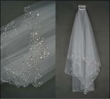 White/Ivory Elbow Beaded Edge Pearl Sequins Wedding Bridal Veil With Comb