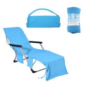 "Microfiber Beach Chair Cover Towel Lounge Chair Towel Cover w/Pockets 82""x30"" US"