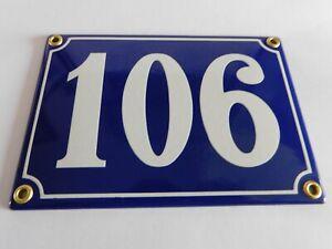 Antique French Blue  Genuine Enamel Porcelain House Door Number Sign / Plate 106