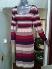M&Co ladies womens multicoloured stripy dress size L long sleeves