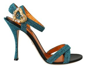 DOLCE & GABBANA Shoes Blue Crystal Gold Heart Sandals EU35 / US4.5