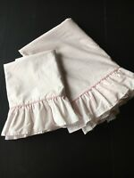 Laura Ashley Pink Ticking Stripe 1 Twin Flat Sheet 1 Standard Pillowcase Ruffles