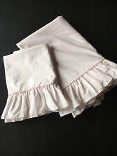 Laura Ashley Pink Ticking Stripe Twin Flat Sheet  1 Standard Pillowcase Ruffles