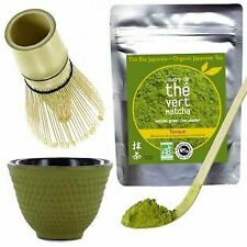 Matcha tea set with whisk & bamboo spoon + green & golden Cast iron Cup