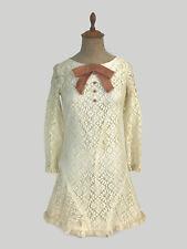 Vintage 1960s 1970s Retro Mod Lace Minidress Velvet Bow Junior Women's Size 5 U1