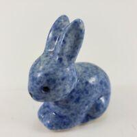 "Vintage Blue Spongeware Rabbit Bunny Miniature Figure 1983 Enesco Ceramic 1¾"""