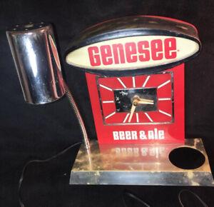Rare vintage advertising Genesee beer ale store bar display clock lamp working