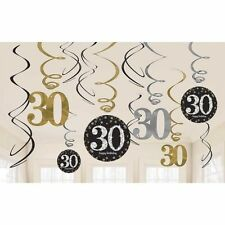 30th Birthday Hanging Party Swirls Black Silver Gold Decorations