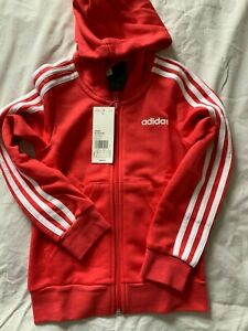 adidas BRAND NEW WITH TAGS girls Essentials 3-stripe hoodie, size 7-8 years