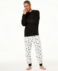 Family Pajamas Set Mens Black Trees Knit SMALL S 2 Pc Set Long Sleeves by Macy's