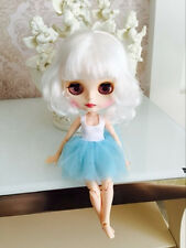 Blythe Nude Doll from Factory Matte Face Jointed Body White Short Hair With Bang