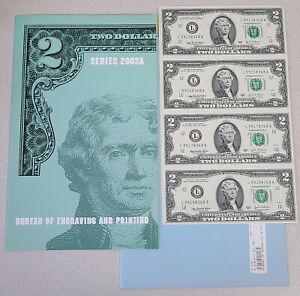 2003A UNCUT Sheet of 4 $2 bills block $8 face value
