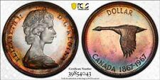 PR66CAM 1967 $1 Canada Silver Goose Dollar, PCGS Secure- Rainbow Toned Proof