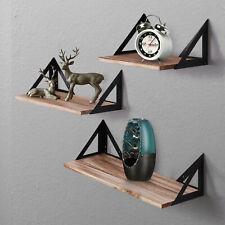 3pcs Wood Corner Wall Shelves Industrial Style Metal Shelving Shelf Storage