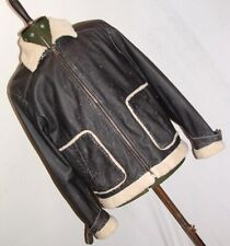 Retro leather & shearling lined flying style pilots bikers jacket