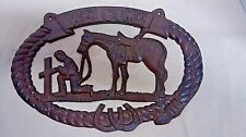 Cast Iron Cowboy/horse Praying Welcome Plaque with Cross Western decor