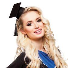 Señoras Mini Sombrero Hairband graduación mortero Board Fancy Dress Costume traje sombrero