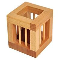 3D Wooden Cube Jigsaw Lock Puzzle Brain Teaser Kids Educational Toy Gift C