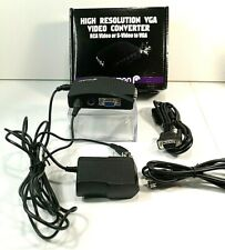 Fosmon RCA Video or S Video AV to PC VGA High Resolution Converter HD1997 NEW