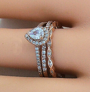 3 PIECE ROSE GOLD PLATED STERLING SILVER HALO CZ WEDDING RING SET