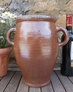 Vintage Stoneware Pot,Large26cms Glazed,French,Confit,Olive,Storage,salting jar