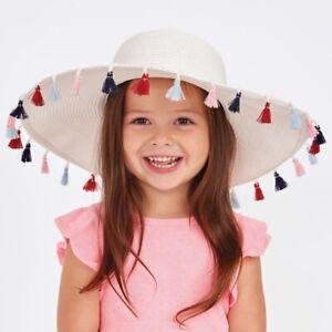 Mud Pie E8 Baby Boutique Toddler 2T-5T Paper Straw White Tassel Sun Hat 1502304