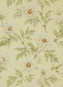 """COLEFAX AND FOWLER CURTAIN FABRIC DESIGN """"Tree Peony"""" 12 METRES IVORY/LEAF LINEN"""