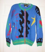 Pavo Real 100% ALPACA Bright Blue Red Yellow Abstract Art Pattern Zip Cardigan S